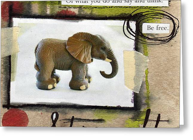 Kids Mixed Media Greeting Cards - Strength Greeting Card by Linda Woods