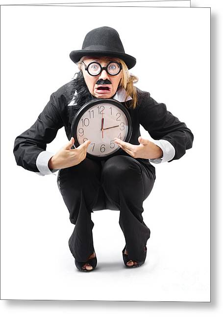 Stressed Woman With Clock Greeting Card by Jorgo Photography - Wall Art Gallery