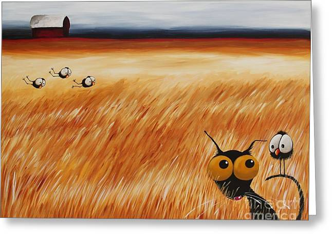 Flocks Of Birds Paintings Greeting Cards - Stressie Cat and crows in the hay fields Greeting Card by Lucia Stewart