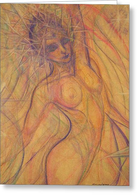 Empowerment Mixed Media Greeting Cards - Stretch   Halo Greeting Card by Caroline Czelatko