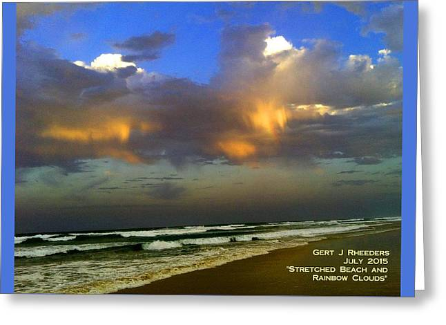 Abstract Digital Paintings Greeting Cards - Stretched Beach and Rainbow Clouds H A Greeting Card by Gert J Rheeders