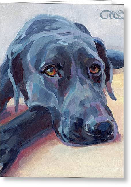 Dogs Paintings Greeting Cards - Stretched Greeting Card by Kimberly Santini