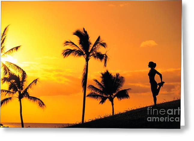 Athletic Sport Greeting Cards - Stretching At Sunset Greeting Card by Dana Edmunds - Printscapes