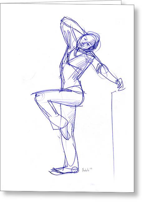 Thin Drawings Greeting Cards - Stretching Model Greeting Card by Natoly Art