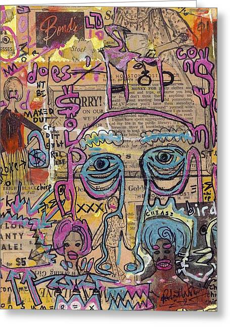 Consume Mixed Media Greeting Cards - Strictly Commercial Greeting Card by Robert Wolverton Jr