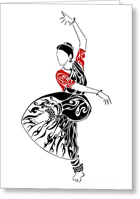 Pen And Ink Drawing Greeting Cards - Strike a Pose Greeting Card by Anushree Santhosh