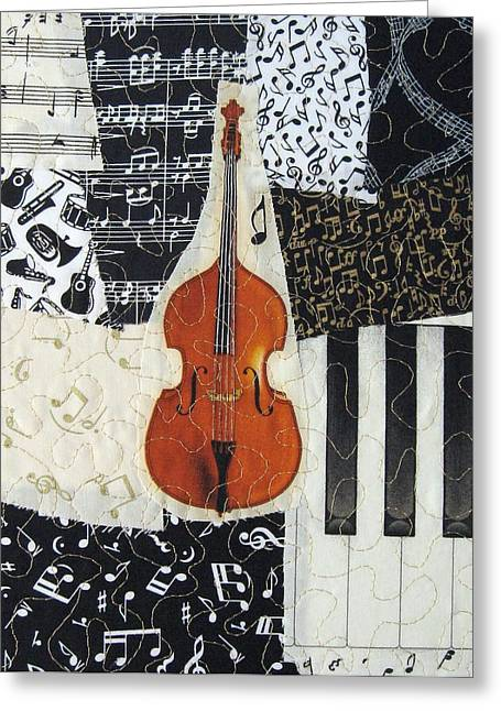 Collage Tapestries - Textiles Greeting Cards - String Bass Greeting Card by Loretta Alvarado