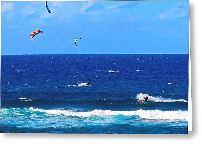 Kite Surfing Greeting Cards - Strings Attached Greeting Card by Doug Oriard