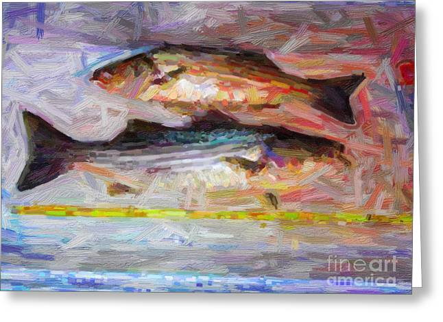 Striped Bass Keepers Greeting Card by Wingsdomain Art and Photography