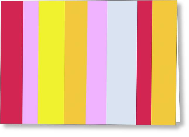 Striped Color Red Yellow Lavender Blue Greeting Card by Eloise Schneider