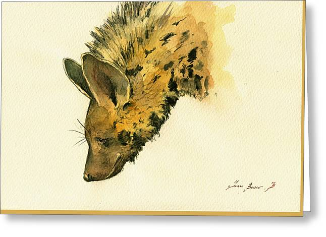 Safari Prints Greeting Cards - Striped hyena animal art Greeting Card by Juan  Bosco