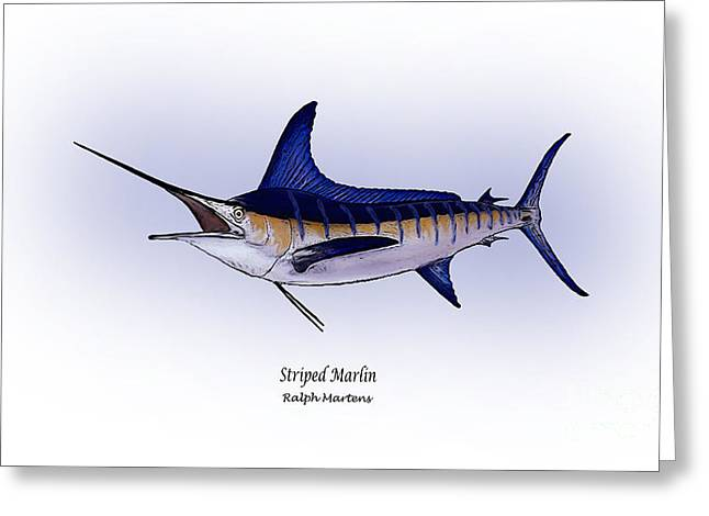 Striped Drawings Greeting Cards - Striped Marlin Greeting Card by Ralph Martens