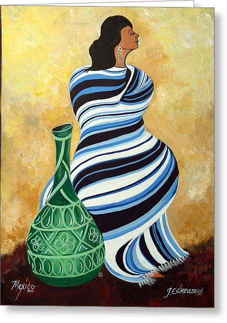 Vase With Figures Greeting Cards - Striped pancho Greeting Card by John Smeulders