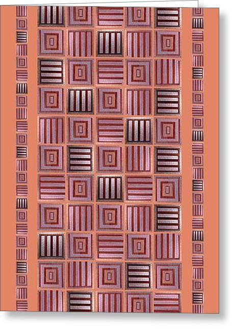 Geometric Digital Art Greeting Cards - Striped squares on a salmon background Greeting Card by Elena Simonenko