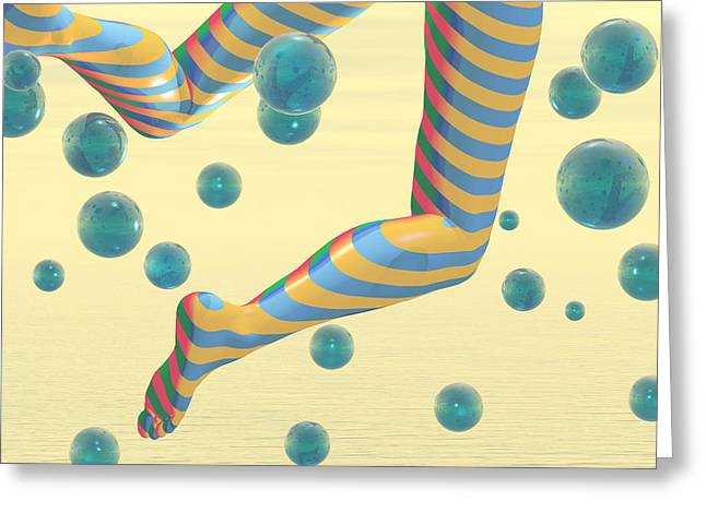 Floating Girl Greeting Cards - Striped Stockings Greeting Card by Carol and Mike Werner