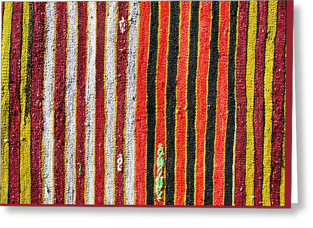 Hand Made Greeting Cards - Striped textile Greeting Card by Tom Gowanlock