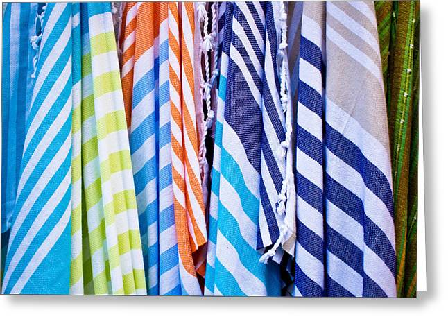 Striped Scarf Greeting Cards - Striped textiles Greeting Card by Tom Gowanlock