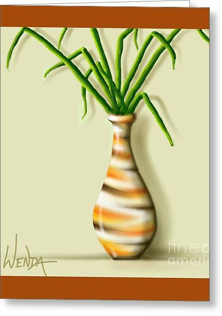 Stripes Glass Art Greeting Cards - Striped Vase  Greeting Card by Wenda LeMoss