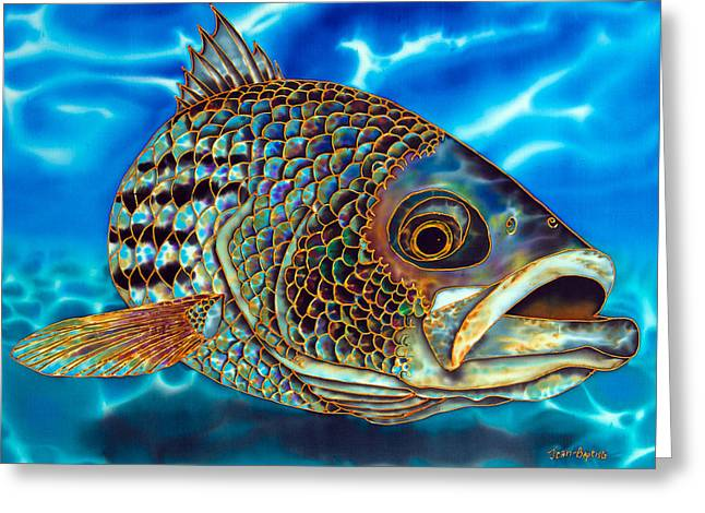 Fish Tapestries - Textiles Greeting Cards - Striper Greeting Card by Daniel Jean-Baptiste