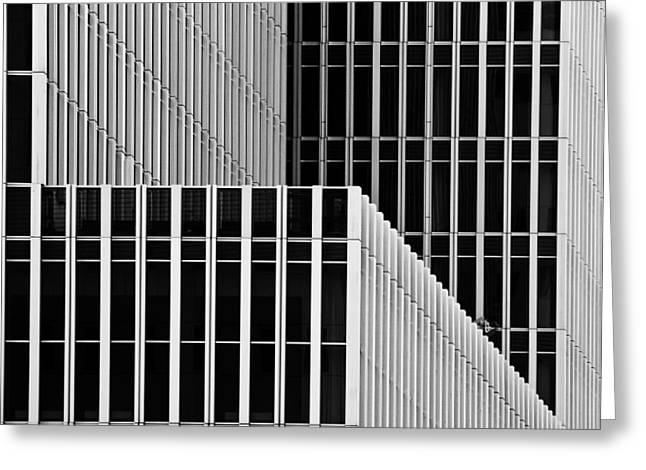 Modern Building Greeting Cards - Stripes And Windows Greeting Card by Greetje Van Son
