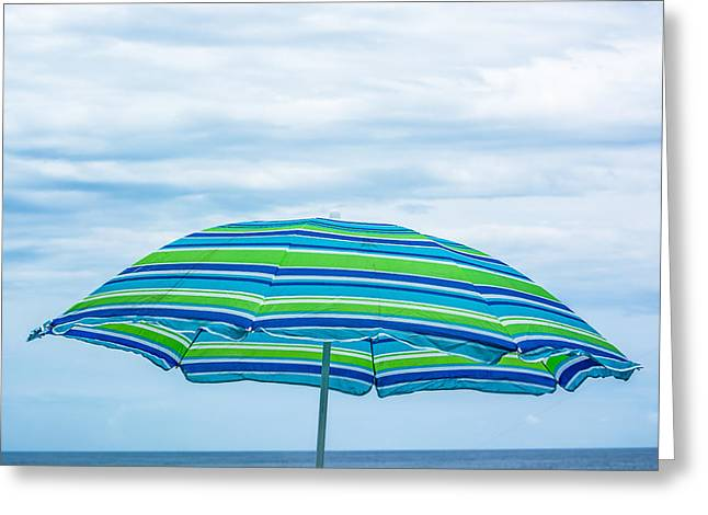 Splashy Greeting Cards - Stripes on the Beach Greeting Card by Shelby  Young