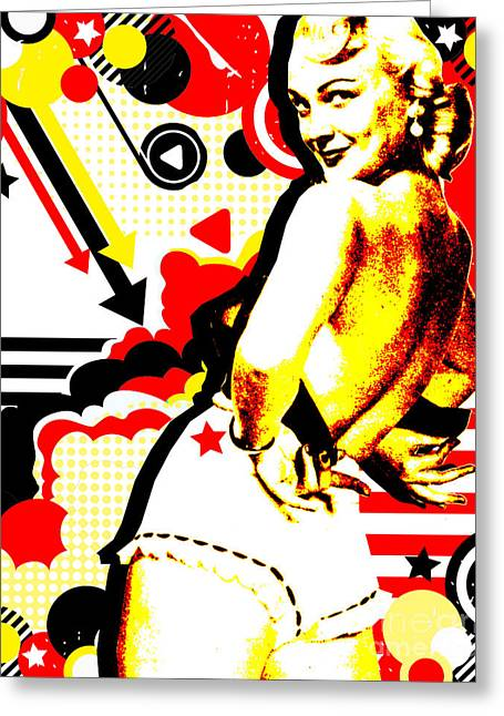 1950s Mixed Media Greeting Cards - Striptease Greeting Card by Chris Andruskiewicz
