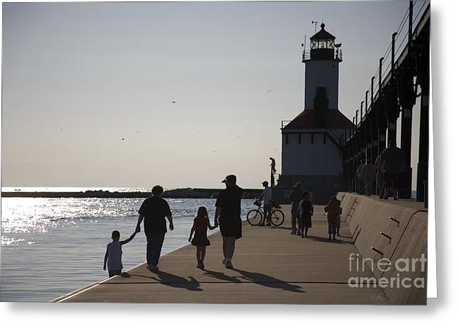Family Walks Greeting Cards - Stroll Greeting Card by Jeannie Burleson