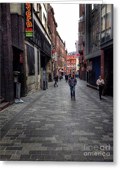Cavern Club . Greeting Cards - Strolling Along Mathew Street Greeting Card by Joan-Violet Stretch