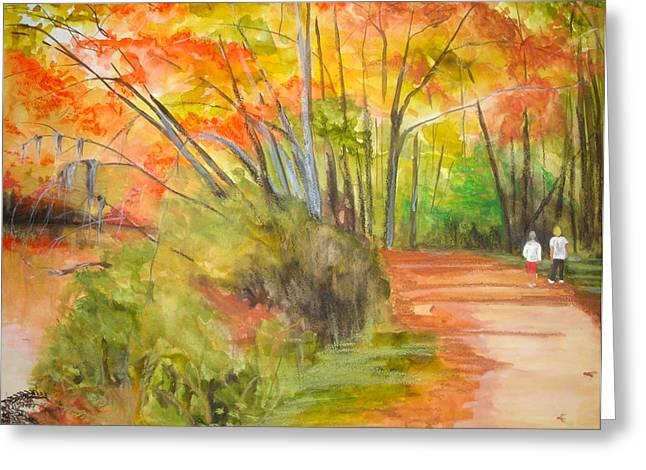 Jean Blackmer Greeting Cards - Strolling Along The Canal Greeting Card by Jean Blackmer