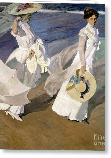 Ocean Shore Paintings Greeting Cards - Strolling along the Seashore Greeting Card by Joaquin Sorolla y Bastida