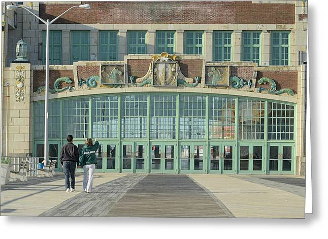 Convention Greeting Cards - Strolling The Boardwalk Greeting Card by Fraida Gutovich