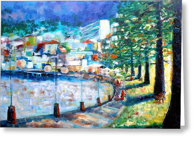 Streetlight Paintings Greeting Cards - Strolling through Manly Greeting Card by Giro  Tavitian