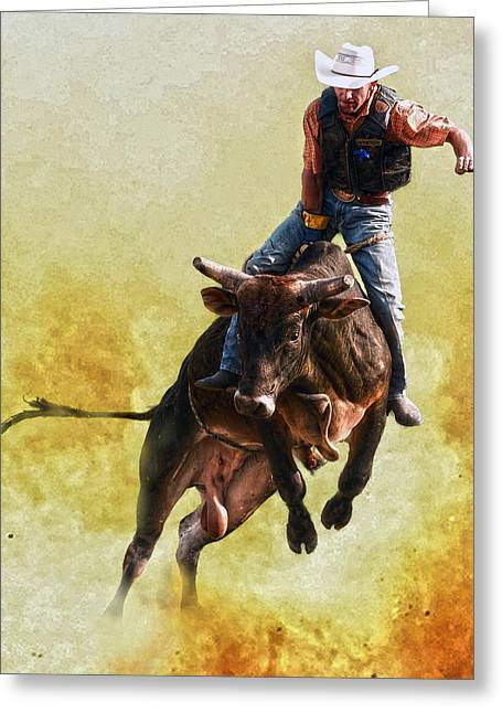 Bull Rider Greeting Cards - Strong Heart Greeting Card by Ron  McGinnis