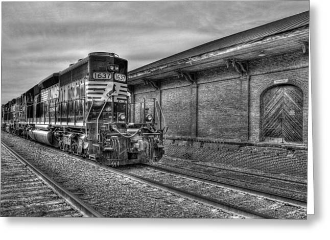 Strong Iron Locomotive 1637 Norfolk Southern Greeting Card by Reid Callaway