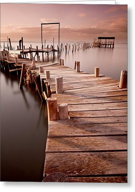Wood Pier Greeting Cards - Strong light Greeting Card by Jorge Maia