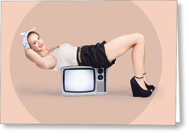 Strong Pinup Girl Doing Fitness Exercises Greeting Card by Jorgo Photography - Wall Art Gallery