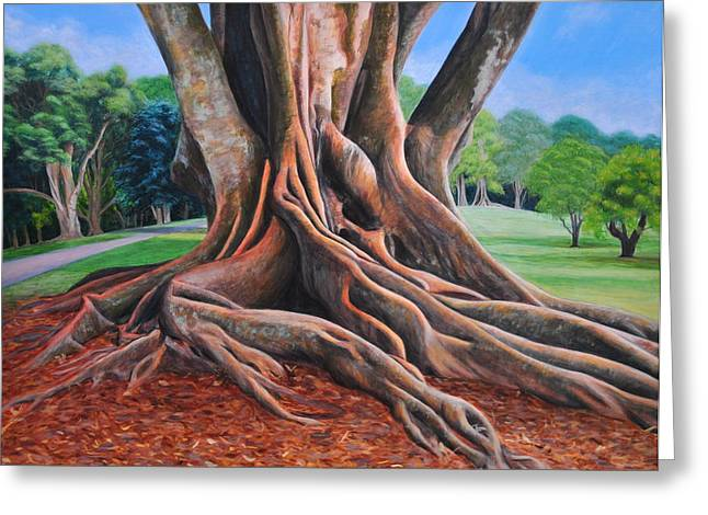 Tree Roots Paintings Greeting Cards - Strong Roots Cornwall Park Greeting Card by Lyn Simpson