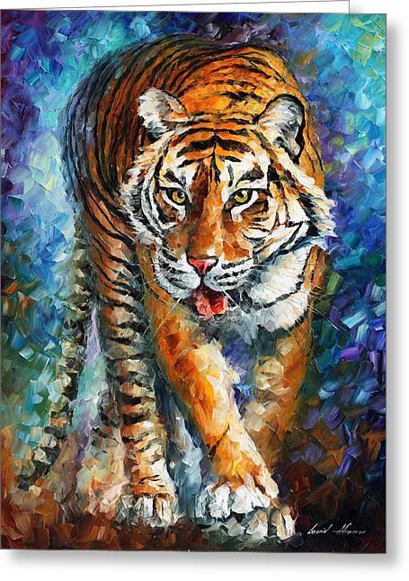 Popular Art Greeting Cards - Strong Tiger - PALETTE KNIFE Oil Painting On Canvas By Leonid Afremov Greeting Card by Leonid Afremov
