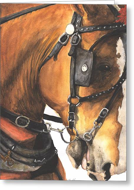 Amish Farms Paintings Greeting Cards - Strongman II Greeting Card by Suzanne Sudekum