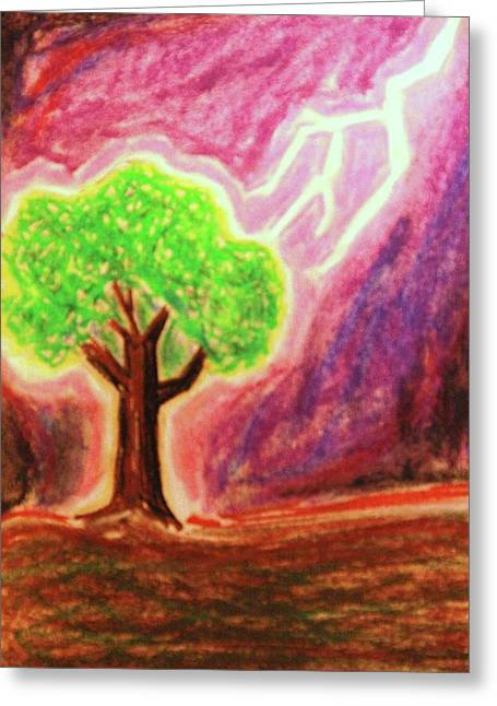 Lightning Pastels Greeting Cards - Struck Greeting Card by Brandi Webster
