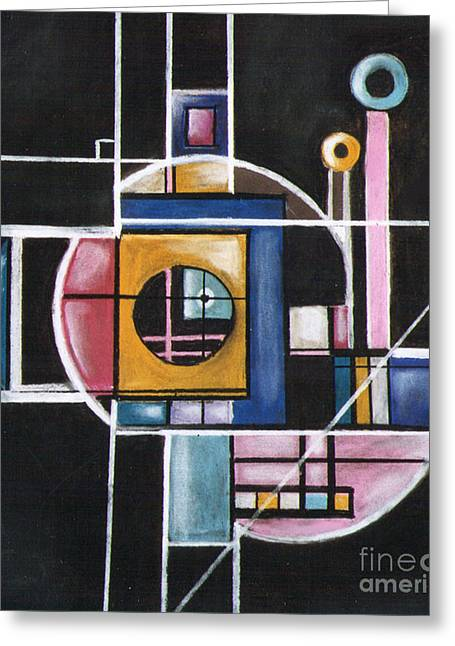 Cubist Pastels Greeting Cards - Structure Greeting Card by Caroline Peacock