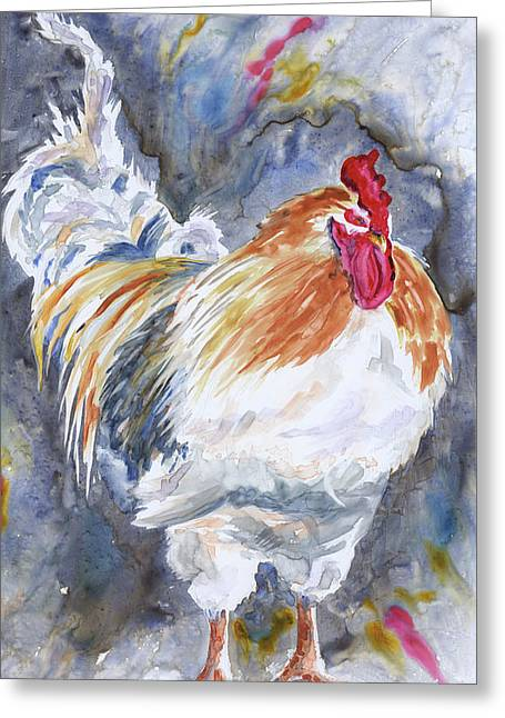 Cocks Greeting Cards - Struttin His Stuff Greeting Card by Marsha Elliott