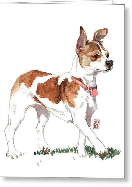 Chihuahua Portraits Greeting Cards - Strutting Chihuahua Greeting Card by Debra Jones
