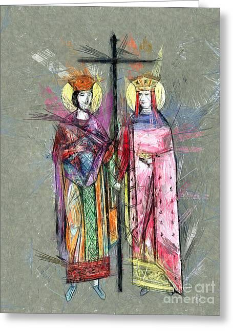 Sts. Constantine And Helen Greeting Card by Daliana Pacuraru