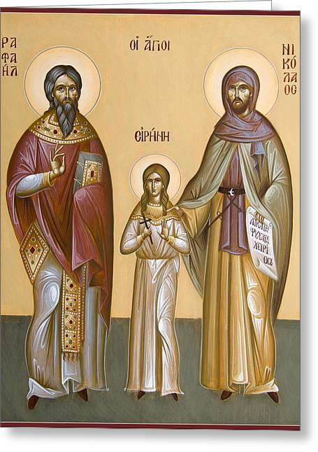 St Nicholas Icon Greeting Cards - Sts Raphael Nicholas and Irene Greeting Card by Julia Bridget Hayes