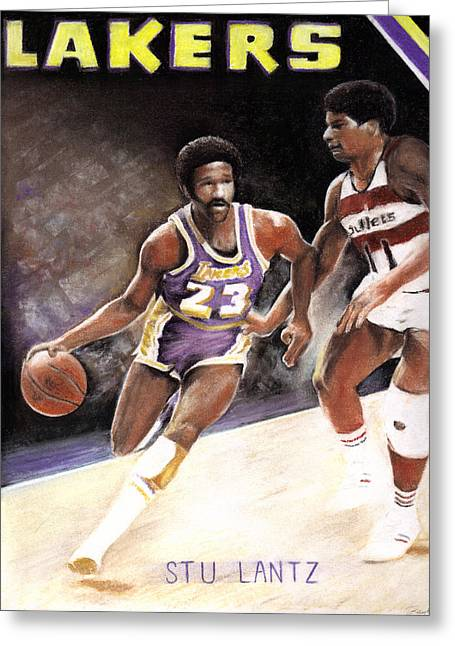 Basketball Pastels Greeting Cards - Stu Lantz Greeting Card by Raymond L Warfield jr