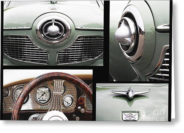 Collector Car Mixed Media Greeting Cards - Studebaker Collage Print Greeting Card by ArtyZen Studios