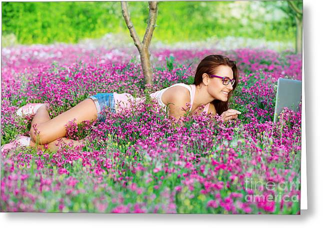 Nature Study Greeting Cards - Student girl in the park Greeting Card by Anna Omelchenko