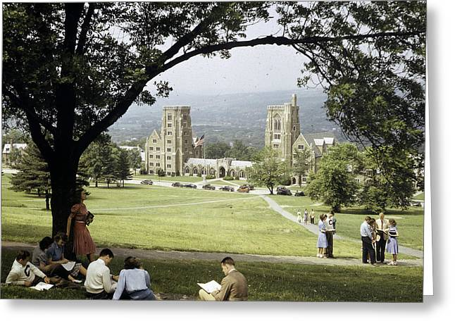 Student Housing Greeting Cards - Students Sit On A Hill Overlooking Greeting Card by Volkmar Wentzel
