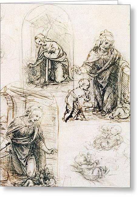 Studies For Nativity Greeting Card by Leonardo Da Vinci